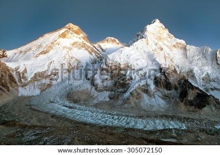 nightly view of Mount Everest, Lhotse and Nuptse from mount Pumo Ri base camp - Sagarmatha national park, Khumbu valley, Nepal - stock photo