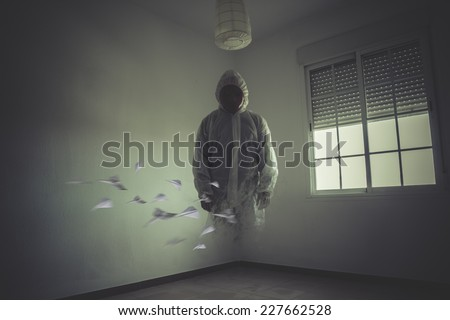 nightmare man with red mask in empty room - stock photo