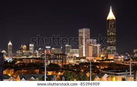 Nightscape of midtown Atlanta, Georgia, USA. - stock photo