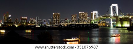 nightscape of Tokyo city, view on the bay and the Rainbow bridge, Japan