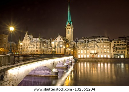 Nightscene in Zurich - stock photo