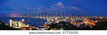 Nightscene of Pattaya City Panorama - stock photo