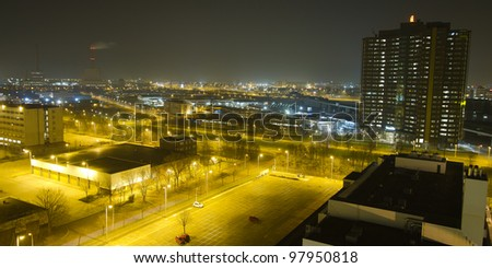 Nightshot from a high pont of a part of Amsterdam - stock photo