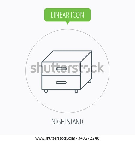 Nightstand icon. Bedroom furniture sign. Linear outline circle button.
