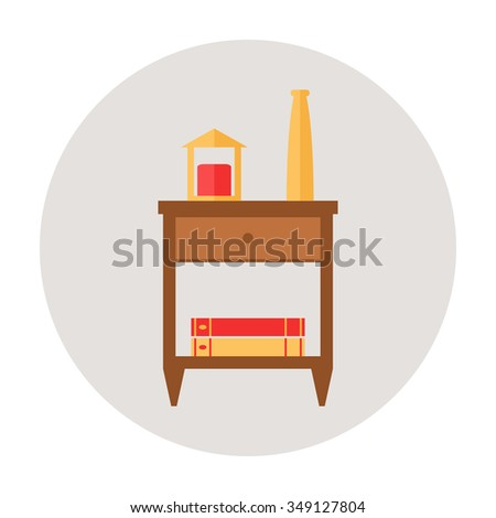 Nightstand. Isolated nightstand icon on background. Wooden furniture for bedroom. Bedside table icon. Flat style illustration.  - stock photo