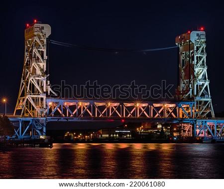Nighttime at Portage Lake (Houghton-Hancock) Lift Bridge from Porvoo Park, Hancock, MI - stock photo