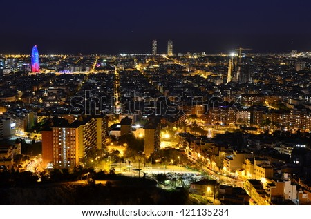 Nighttime Cityscape from Bunkers - Barcelona, Catalonia, Spain