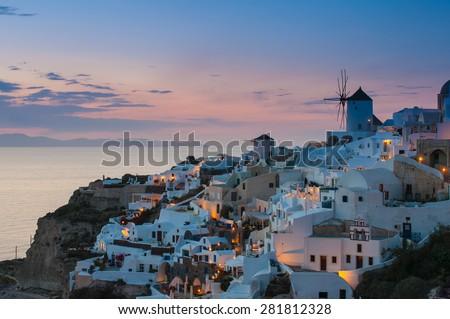 Nighttime in Santorini - stock photo