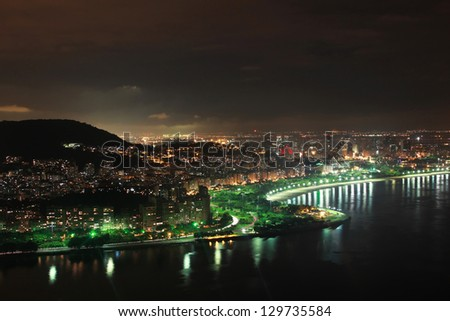 Nighttime skyline of Rio de Janeiro, Brazil. Flamengo beach from Sugarloaf Mountain - stock photo