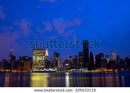 Nighttime view of Manhattan Midtown skyline, New York - stock photo