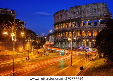 Nightview of Colosseum in Rome, Italy - stock photo