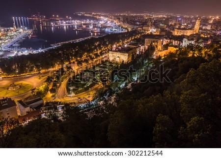 Nightview of Malaga city, Spain - stock photo