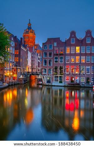 Nightview of Nicolaaskerk in Amsterdam - stock photo