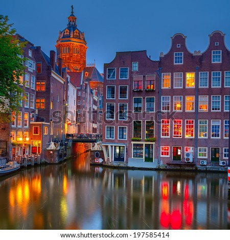 Nightview of Nicolaaskerk in Amsterdam - stock photo