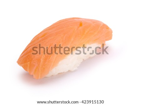 Nigiri Sake Sushi, salmon and rice, on a white background.