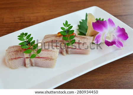 Nigiri sushi grilled Otoro (Maguro) - stock photo