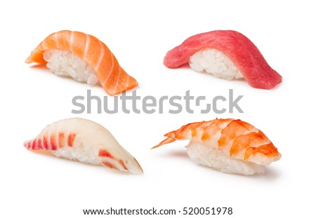 Nigiri Sushi set on a white background