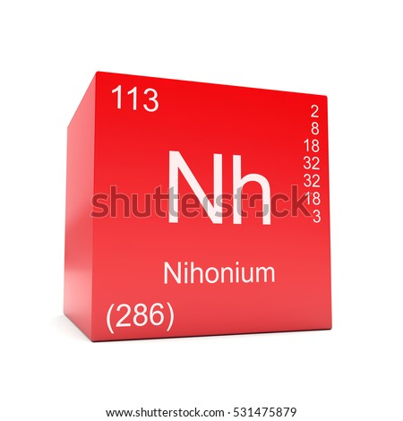 Nihonium chemical element symbol periodic table stock illustration nihonium chemical element symbol from the periodic table displayed on red cube 3d render urtaz Choice Image