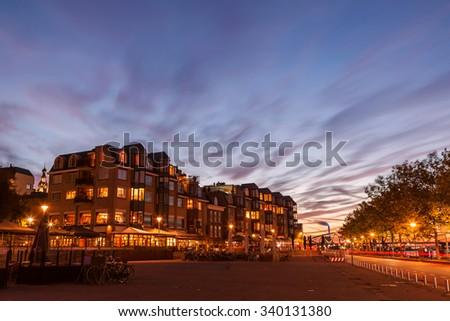 Nijmegen cityscape at dusk twilight - stock photo