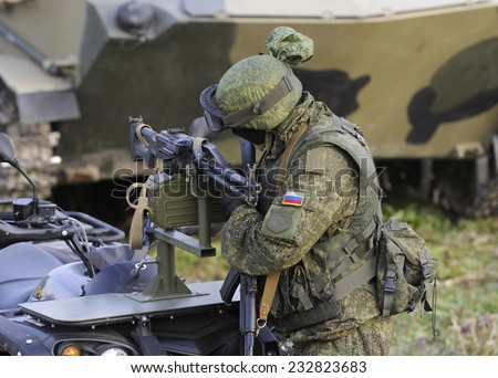 "NIKINCI, SERBIA - CIRCA NOVEMBER 2014: Russian army soldiers at military exercise ""Srem 2014"" , circa November 2014"