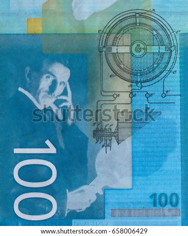 Nikola Tesla Portrait On Serbia 100 Stock Photo Royalty Free