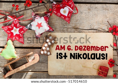 Nikolaus Means Nicholas Day/Christmas holiday decorations.