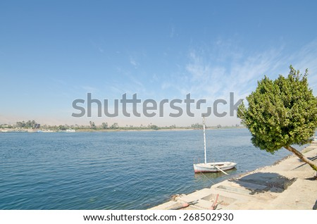Nile river in Egypt next to Luxor - stock photo