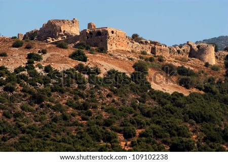 Nimrod Fortress at the Golan Heights, Israel. - stock photo