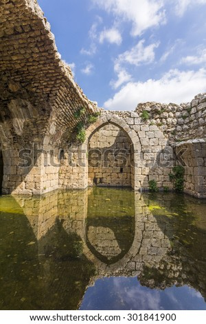 Nimrod Fortress Ruins overlooking Golan galilee and banias  - stock photo