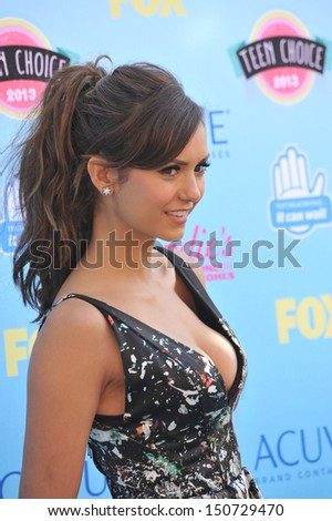 Nina Dobrev at the 2013 Teen Choice Awards at the Gibson Amphitheatre, Universal City, Hollywood. August 11, 2013  Los Angeles, CA - stock photo
