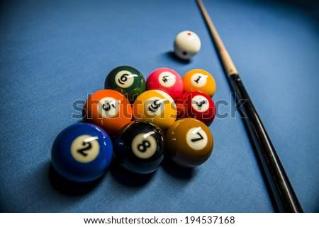 Nine ball rack - stock photo