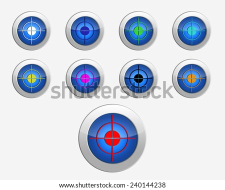 Nine colors purposes on the buttons - stock photo