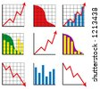 Nine different business charts - stock photo