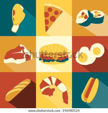 Nine Food Icons - stock photo
