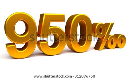 Nine hundred and fifty per mill 3D text, with big golden fonts isolated on white background. Rendered illustration.