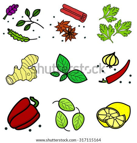 Nine images of different foods - ginger, spinach, parsley, celery,  bell pepper, cucumber, green beans, lemon, sausage, meat grinder, hot dog, chicken carcasses, cassette eggs, fruit compote - stock photo