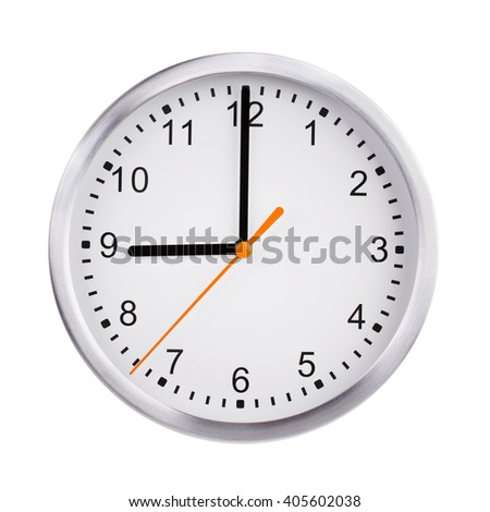 Nine o'clock on a round dial of office hours - stock photo