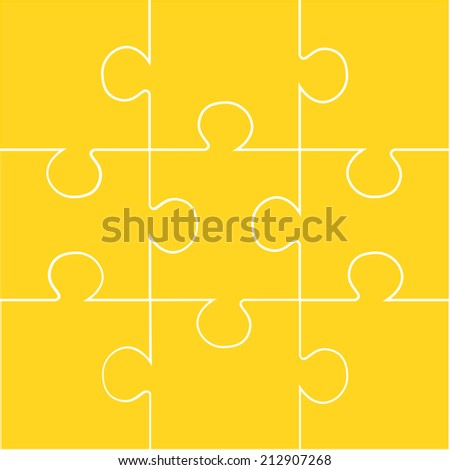 Nine pieces of orange jigsaw puzzle - stock photo