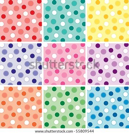 Nine Polka Dot Patterns - stock photo