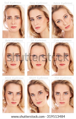 Nine portraits of young beautiful woman with various eyebrow styles on her face. How brows can transform the face. Eyebrows shaping, make-up, beauty. - stock photo