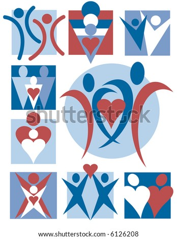 Nine symbolic illustrations of people. Vector format also available.