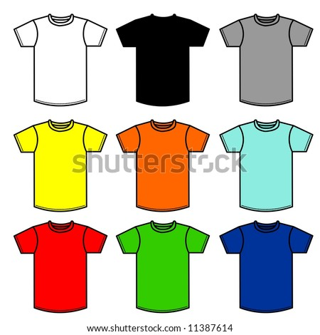 Nine T-Shirts of different colors - stock photo