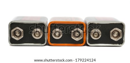 nine volt batteries - stock photo