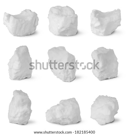 Nine white snowball on white. Clipping path separately for each snowball.  - stock photo