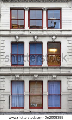 Nine Windows at Old Building in London