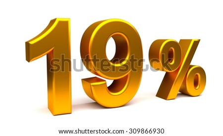 Nineteen percents 3D text, with big golden fonts isolated on white background. Rendered illustration.