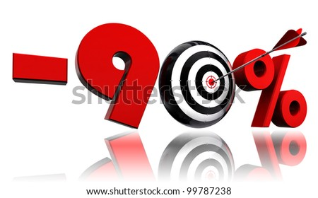 ninety per cent 90% red discount symbol with conceptual target and arrow on white background.clipping path included
