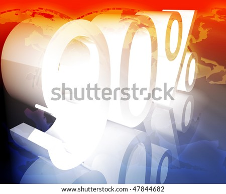 Ninety 90 percent discount sale price reduction promotion background