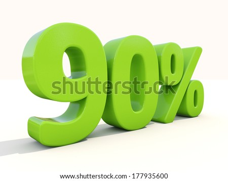 Ninety percent off. Discount 90%. 3D illustration. - stock photo