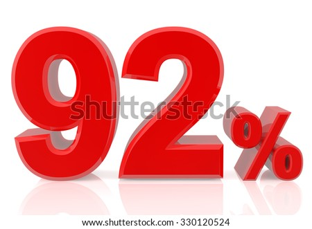 ninety two percent red 3d rendering